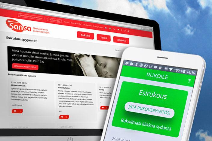 Rukousseinällä voi käydä sekä netissä että mobiilisovelluksella.