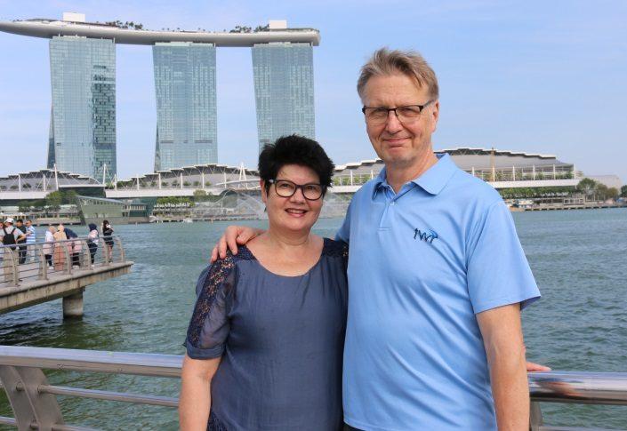 Päivi ja Ilkka Kastepohja Singaporessa.