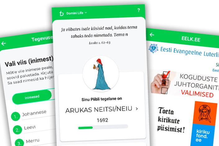 Domini Life -sovelluksen vironkielisen version ruutunäkymiä.