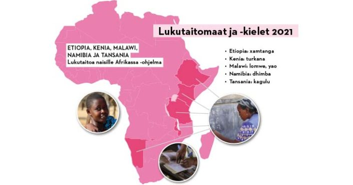 Suomen Pipliaseuran Lukutaitoa naisille Afrikassa -hankkeen maat ja kielet 2021